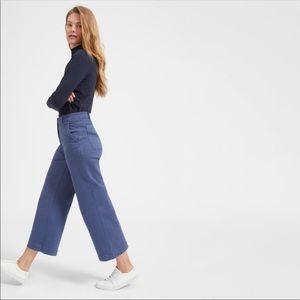 Everlane Wide Leg Crop Pant High Rise Blue Jean- 0
